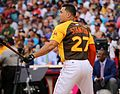Giancarlo Stanton competes in semis of '16 T-Mobile -HRDerby. (28468367302).jpg