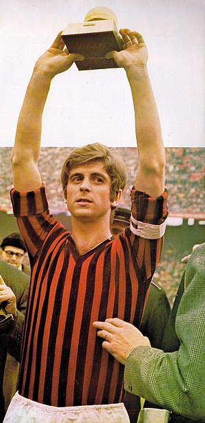 Gianni Rivera - Rivera lifting the Ballon d'Or in 1969.