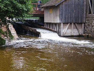 The river Srove. Ginuciai watermill