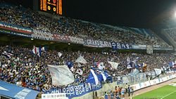 A stand full of Korean fans cheering after a goal.