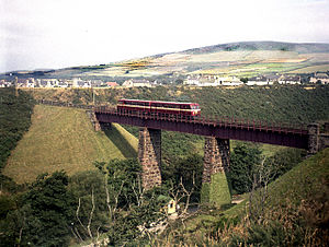 Manx Northern Railway - The ex-County Donegal Railways diesel cars Nos. 19 and 20 cross Glen Wyllin viaduct with a service to Ramsey in August 1964