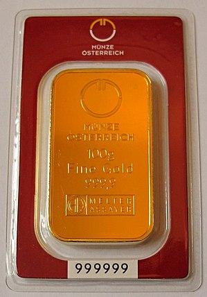 Austrian Mint - Gold Ingot from Münze Österreich