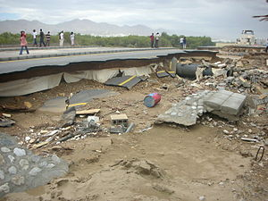 Cyclone Gonu - Road damage in Muscat, Oman