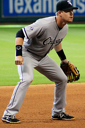 Gordon Beckham third base White Sox May 2015 Houston.jpg