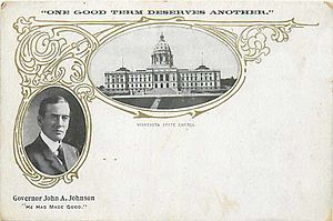 John Albert Johnson - Governor Johnson re-election mailing card