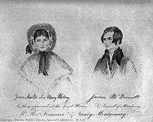 "A sketch of Grace Marks alias ""Mary Whitney"" and James McDermott as they appeared at their trial."