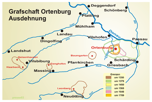 Imperial County of Ortenburg - Ortenburg territories from 1350 until 1789