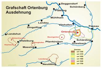 Imperial County of Ortenburg - Ortenburg territories from 1350 until 1789