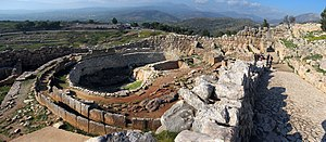Grave Circle A, Mycenae - Grave Circle A (left) and the main entrance of the citadel (right)
