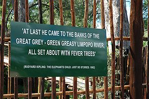 Limpopo River - Sign at the viewing deck of the Limpopo River at Mapungubwe National Park, South Africa, featuring a quote from Rudyard Kipling