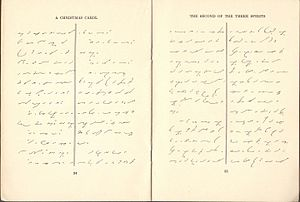 "Gregg shorthand - Sample of text from ""A Christmas Carol"", published in Gregg shorthand, 1918."