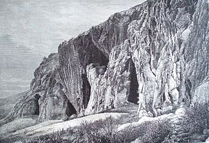 Grimaldi Man - Grotte dei Balzi Rossi (Rochers Rouges) where the Grimaldi skeletons were found. Picture from Nouvelle géographie universelle, 1877