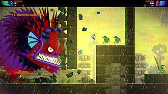 Boss (video gaming) - A boss fight from Guacamelee!, in which the player characters (the two characters in luchador outfits) must keep ahead of the giant rampaging creature on the left while dodging obstacles and other enemies.