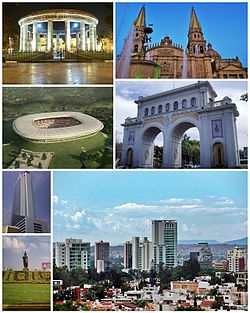 Top left: Rotunda of Illustrious Jalisco (Rotonda de los Jaliscienses Ilustres), top right: Guadalajara Cathedral, middle left: Omnilife Stadium, middle right: Arch of Guadalajara (Los Arcos de Guadalajara), bottom upper left: Lopes Mateos Tower (Torre Lopez Mateos), bottom lower left: La Minerva monument, bottom right: Panorama of Circunvalacion Americas downtown area