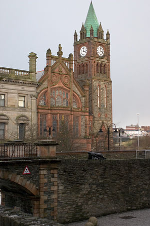 Free Derry - The Guildhall, where members of the Derry Housing Action Committee disrupted meetings of Londonderry Corporation in 1968