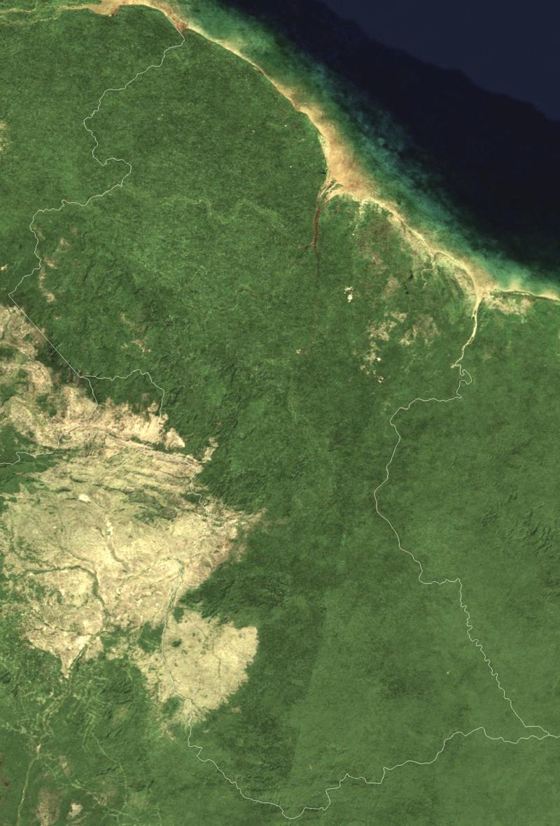 Satellite image of Guyana