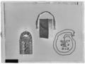 Hängsmycke med hängare av förgyllt silver.Rektangulär platta med profilerat krön - Skoklosters slott - 8832-negative.tif