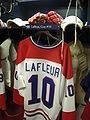 HHOF July 2010 Canadiens locker 12 (Lafleur).JPG