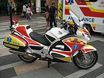 hong kong fire services department emergency medic motorcycle (originally  used as a police patrol bike)