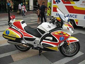 Motorcycle ambulance - Honda ST1300P in Hong Kong.