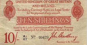 Bank of England note issues - Obverse side of the ten-shilling banknote issued by HM Treasury