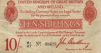 Bank of England note issues - Obverse side of the ten-shilling banknote issued by HM Treasury.