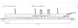 HMS Bellerophon (1865) - Right elevation drawing. The shaded areas represent the ship's armour.