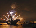 HMS Illustrious with Fireworks on River Thames MOD 45150193.jpg