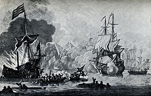 Battle between the British frigate HMS Mary Ro...