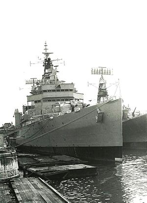 Tiger-class cruiser - Another view of HMS Tiger on the same day, showing the 6-inch guns which were retained in the conversion.