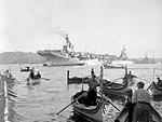 HMS Warrior (R31), USS Des Moines (CA-134) and HMS Gambia (48) at Malta, circa in 1951 (IWM A32044).jpg