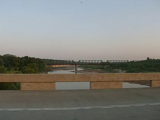 Red River of the South - Crossing the Red River at the Texas-Oklahoma border from  I-35