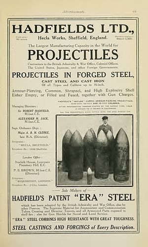 "Hadfields Limited - Advertisement in Brassey's Naval Annual 1915 presenting Hadfield's manufacture of artillery shells and their patented ""ERA"" steel"