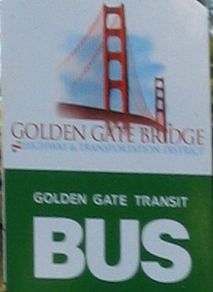 Golden Gate Transit - Golden Gate Transit's second generation logo, in use until 2010, as seen on a bus stop sign in Novato.
