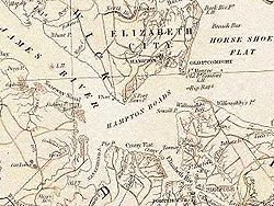 The Harbor Area Of Hampton Roads From Official State Map Of Pre Civil War Virginia Circa 1858 Image From The Library Of Virginia