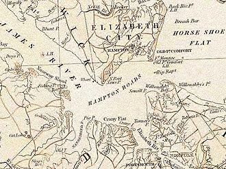 Hampton Roads - The harbor area of Hampton Roads, from official state map of pre-civil war Virginia circa 1858. image from the Library of Virginia