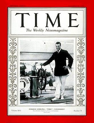 Harold Stirling Vanderbilt - Vanderbilt at the helm of his J-class yacht Enterprise (TIME, September 15, 1930)