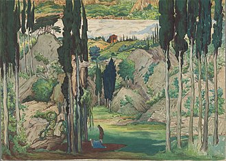 Daphnis et Chloé - Set design by Léon Bakst for the world premiere of Daphnis et Chloé, Paris 1912.
