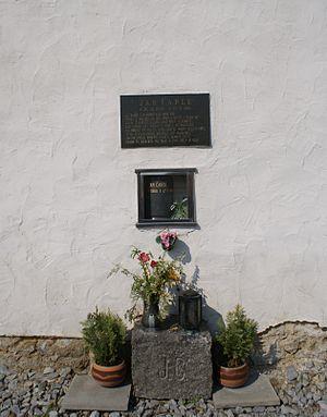 Jan Čarek - A funerary urn of Jan Čarek placed in the wall of his birthplace church in Heřmaň in South Bohemian Region.