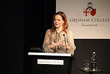 Helen Castor, Historian of Medieval England, giving a Gresham College lecture (22218675438).jpg