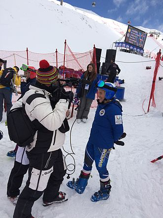 Eurosport - Eurosport staff conducting an interview at the 2015 Winter Universiade's Alpine skiing event.