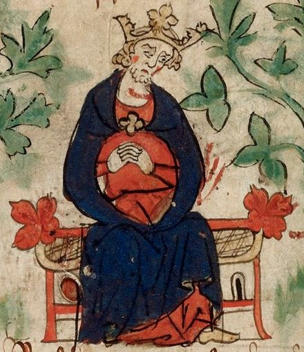 Early 14th-century depiction of Henry mourning the death of his son Henry I - British Library Royal 20 A ii f6v (detail).jpg