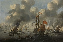 Peter van de Velde:The burning of the English fleet off Chatham, 20 June 1667