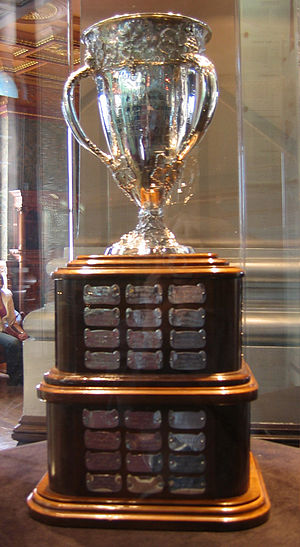 The Calder Memorial Trophy that Bure won in hi...