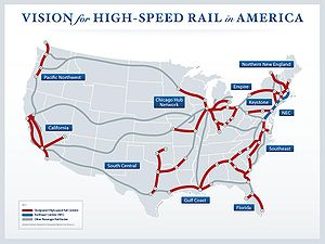 Map showing US high speed rail corridors as of...