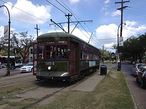 St. Charles Streetcar Line - 900 Series streetcar running on the St. Charles line.