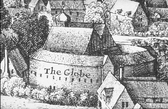 Globe Theatre - Second Globe Theatre, detail from Hollar's View of London, 1647. Hollar sketched the building from life (see top), but only later assembled the drawings into this View; he mislabelled his images of The Globe and the nearby bear-baiting enclosure. Here the correct label has been restored. The small building to the left supplied food- and ale-sellers at the theatre.