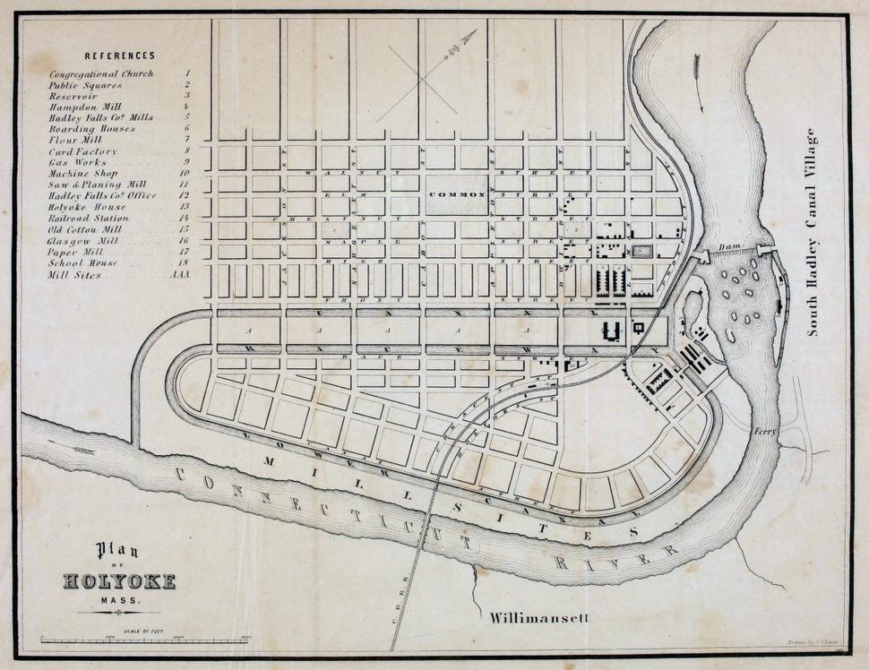 Holyoke Hadley Falls Plan 1853