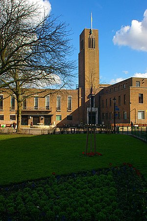 Municipal Borough of Hornsey - Image: Hornsey Town Hall, Crouch End Broadway geograph.org.uk 358158