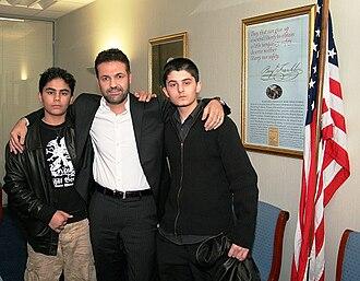The Kite Runner - Khaled Hosseini with actors of The Kite Runner, Bahram and Elham Ehsas